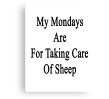 My Mondays Are For Taking Care Of Sheep  Canvas Print