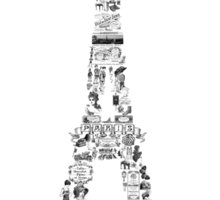 Vintage Eiffel Tower collage Sticker