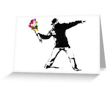 Banksy Flower Bomber Recreation Greeting Card