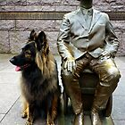 FDR and therapy dog Tessa by Bine