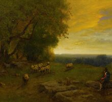 GEORGE INNESS - SHEPHERD AND FLOCK AT SUNSET by Adam Asar
