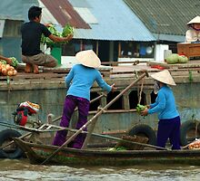 Selling Produce on the Mekong Floating Market, Mekong River, Southern Vietnam by acaldwell