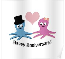 Happy Anniversary! Cute Octopus Couple  Poster