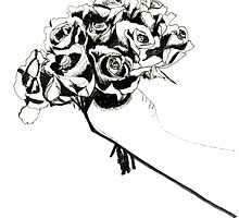 Line Drawing Of Roses by ShanWherry