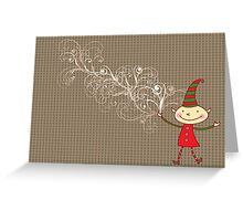 Swirly Magical Christmas Elf Greeting Card