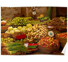 Fresh Vegetables, Street Market in Can Tho, Southern Vietnam Poster
