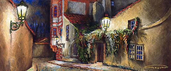 Prague Old Street Kapucinska Novy Svet by Yuriy Shevchuk