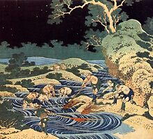 'Fishing With Torches' by Katsushika Hokusai (Reproduction) by Roz Abellera Art
