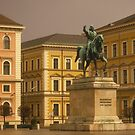 Equestrian statue of Maximilian in plaza by cascoly