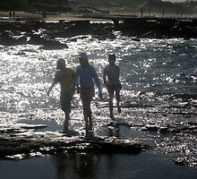 Children at Merewhether Beach: Rockplatform by Cheryl Parkes