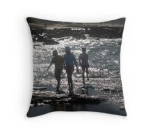 Children at Merewhether Beach: Rockplatform Throw Pillow