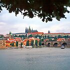 View across the river towards the Castle, Prague by Priscilla Turner