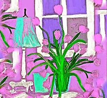 Pink Tulips for my Shabby Chic Home by Saundra Myles