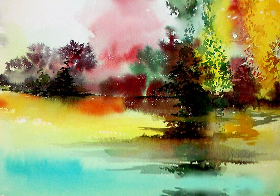 Lake in colours by Anil Nene