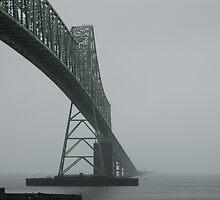 Astoria-Megler Bridge In Fog by Edith Farrell