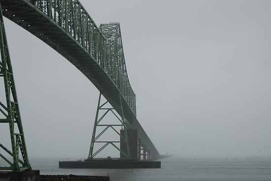 Astoria-Megler Bridge In Fog by Edith Farrell