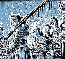 Seven Samurai Art Akira Kurosawa film movie illustration sword kung fu ninja japan japanese cartoon joe badon men 1954 action by Joe Badon