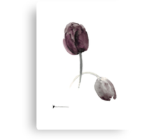 Purple tulips art print watercolor painting Canvas Print