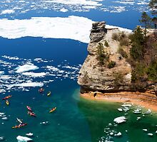 Kayaks and Ice Floes at Miners Castle - Pictured Rocks, Michigan by Craig Sterken