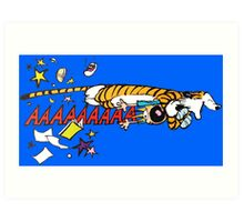 Hobbes Attacking Calvin-1 Art Print
