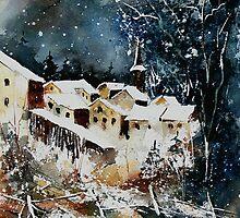 Watercolor vivy village belgium by calimero