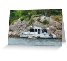 Two Boats by Rocky Shoreline Greeting Card