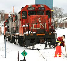 Locomotive In Winter by HALIFAXPHOTO