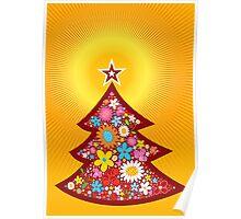 Spring Flowers Christmas Tree Poster