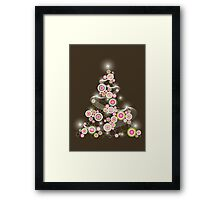 Pink Retro Circles Christmas Tree Framed Print