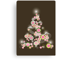 Pink Retro Circles Christmas Tree Canvas Print