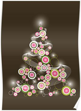 Pink Retro Circles Christmas Tree by fatfatin