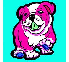 Happy Bulldog Puppy Pink and White  Photographic Print