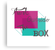 """Think Outside the Box"" Geometric Modern Quote Teal Purple Script Typography Metal Print"
