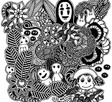 Ghibli inspired black and white doodle art by martywoodskk