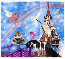 WHIMSICAL PLAYFUL ANIMALS FUN TOTE BAG - DECORATIVE PILLOW-TRAVEL MUGS-PICTURE ECT Poster
