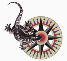 Gecko Lizard on Compass Rose T-Shirt
