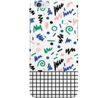 Lainie - 80s, 90s, revival, memphis, design, bright, print, grid, black and white iPhone Case/Skin