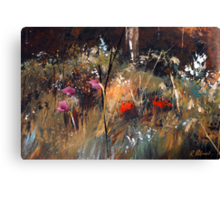 Blue Grass And Wild Flowers Canvas Print