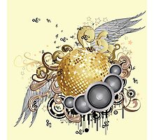 Gold disco ball with wings 2 Photographic Print