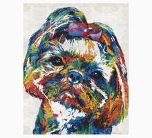 Colorful Shih Tzu Dog Art by Sharon Cummings Kids Clothes
