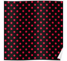 Red and Black Polka Dot Pattern Poster