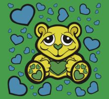 Love Teddy Bear Yellow and Blue Kids Clothes