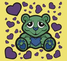 Love Teddy Bear Green and Purple  Kids Clothes