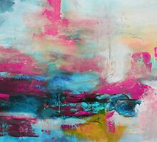Aqua Pink Abstract Print from Original Painting  by AndradaArt