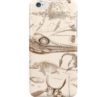 Marine Reptile Engravings Brown iPhone Case/Skin