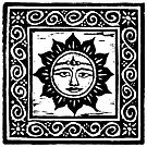 Sun God Linocut by Yvette Bell