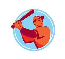 Baseball Batter Batting Bat Circle Retro by patrimonio