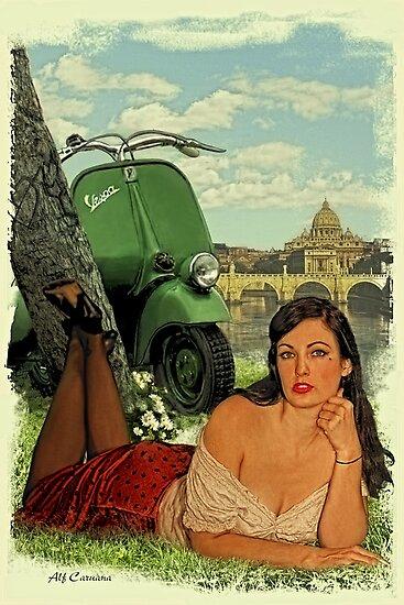 Vespa Pin Up Girl by Alf Caruana