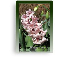 Easter Card with Pretty-in-Pink Hyacinth Canvas Print