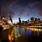 Melbourne skyline at night - poster by Andrew Brown